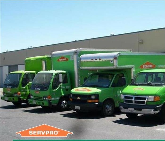 3 SERVPRO box trucks and 1 van sitting in a parking lot